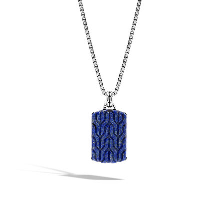 Classic Chain Large Dog Tag Necklace with Lapis Lazuli