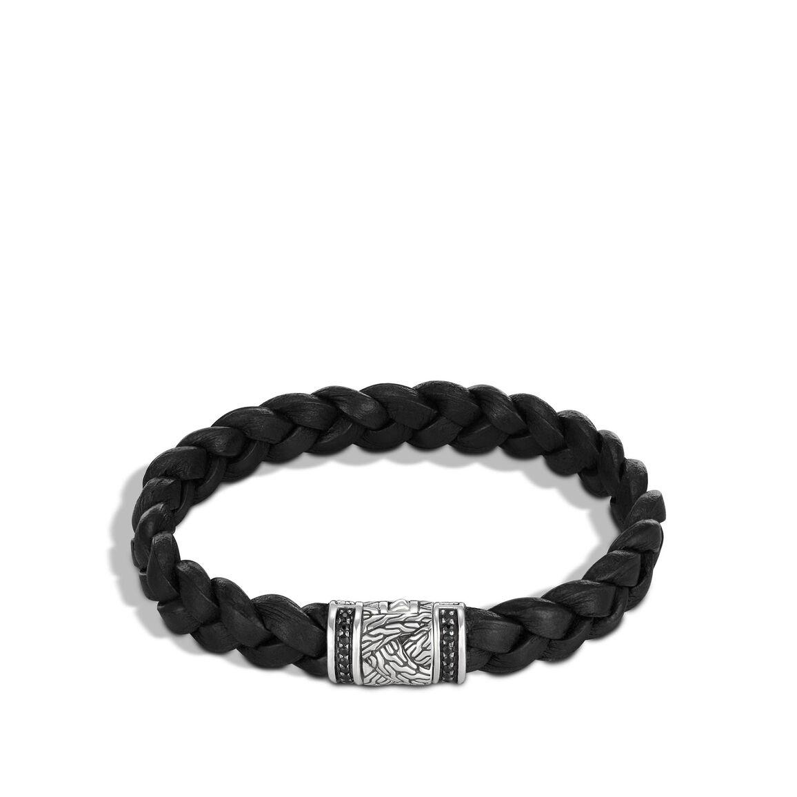 Braided Chain 10MM Bracelet, Silver, Leather, Gemstone