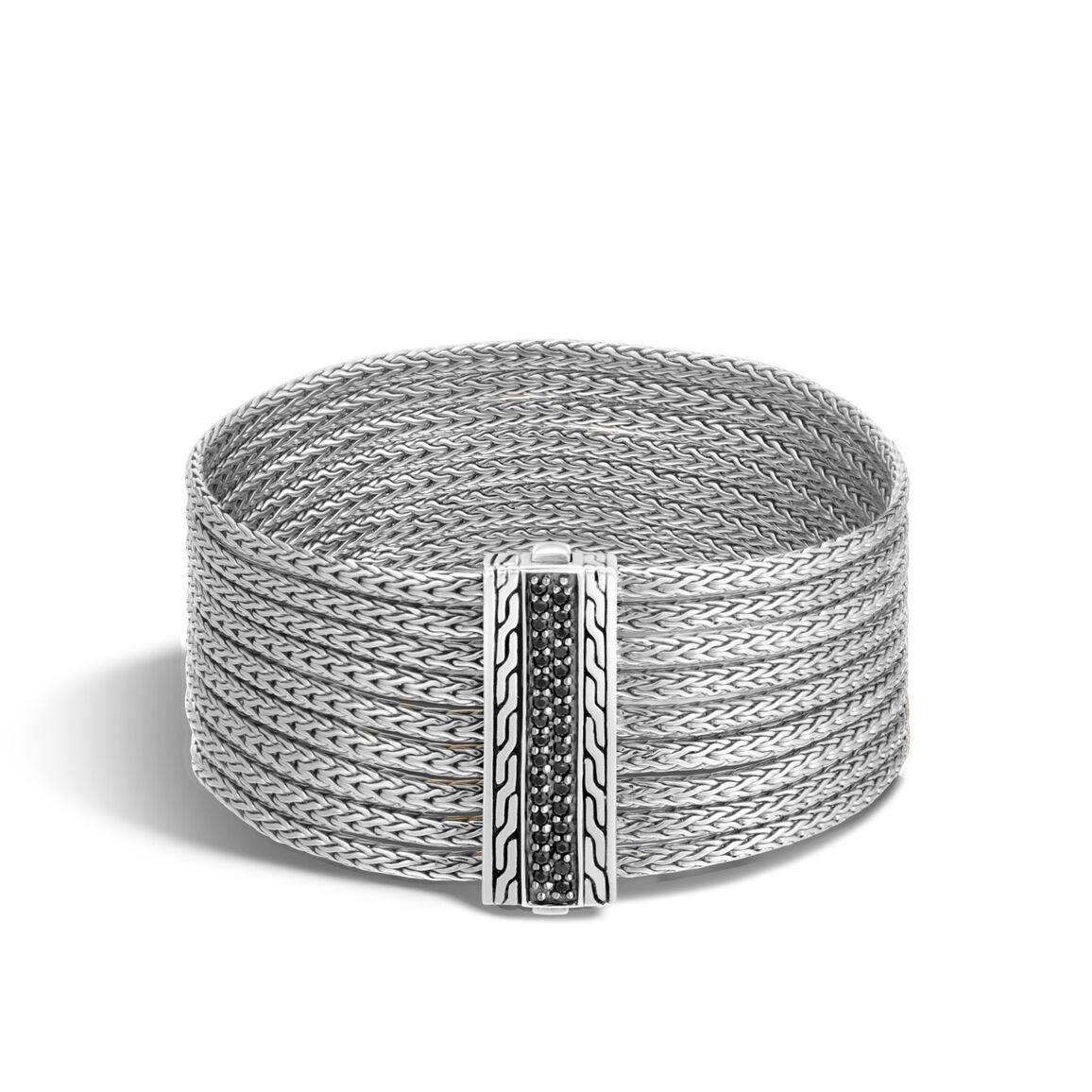 Classic Chain Nine Row Bracelet in Silver with Gemstone