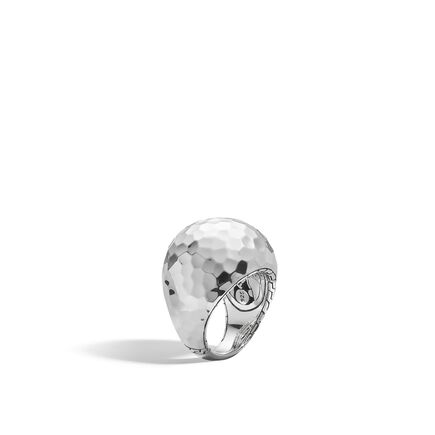 Dot Dome Ring in Hammered Silver