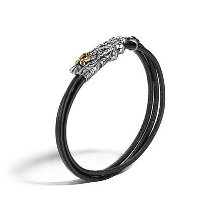 Legends Naga 6MM Bracelet in Silver, 18K Gold, and Leather