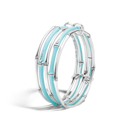 Bamboo Bangles in Silver with Enamel, Set of 5