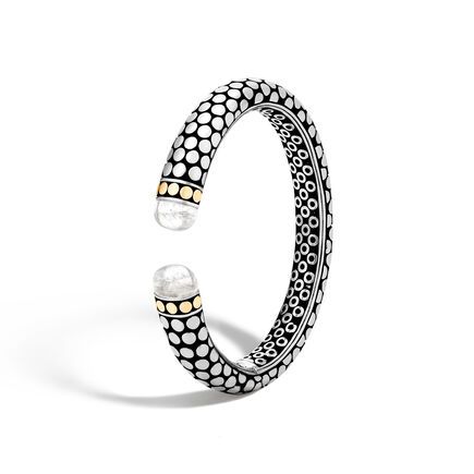 Dot 11MM Cuff in Silver and 18K Gold with Gemstone
