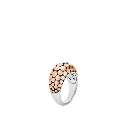 Dot 12MM Dome Ring in Silver and 18K Rose Gold