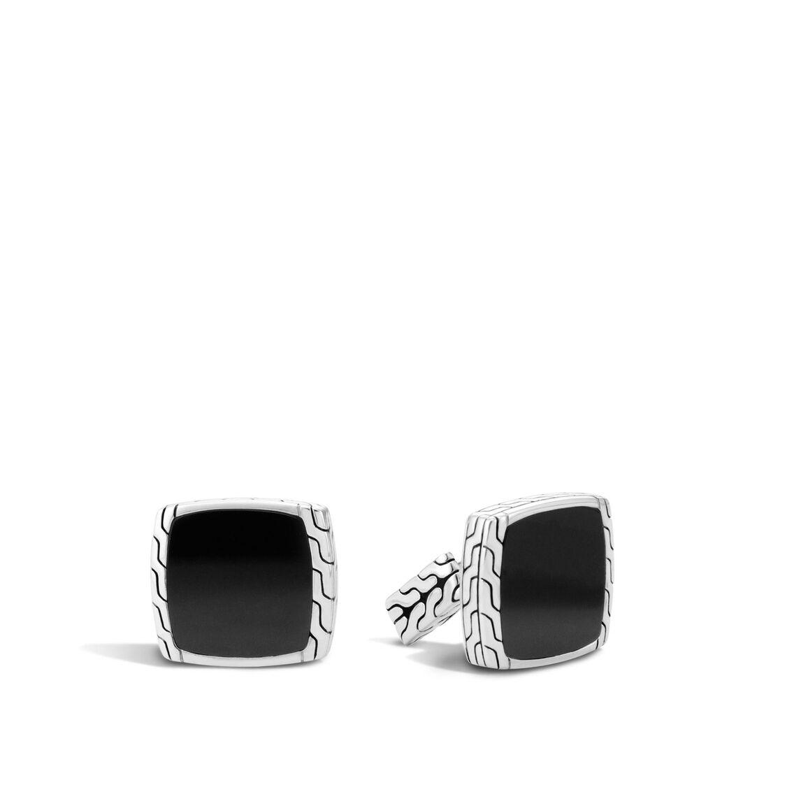 Classic Chain Cufflinks with 15MM Gemstone