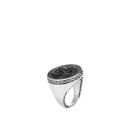 Legends Naga Carved Signet Ring with Gemstone