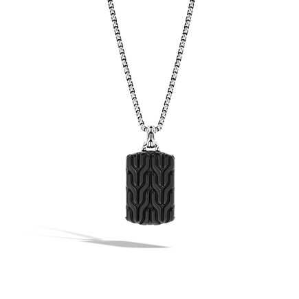 Classic Chain Large Dog Tag Necklace with Black Onyx