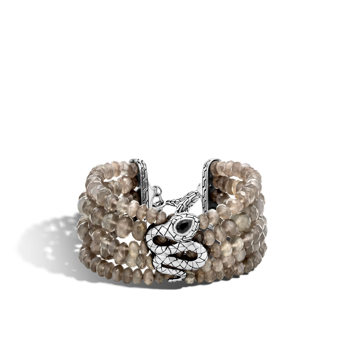 Legends Cobra Multi Row Bead Bracelet in Silver with Gems