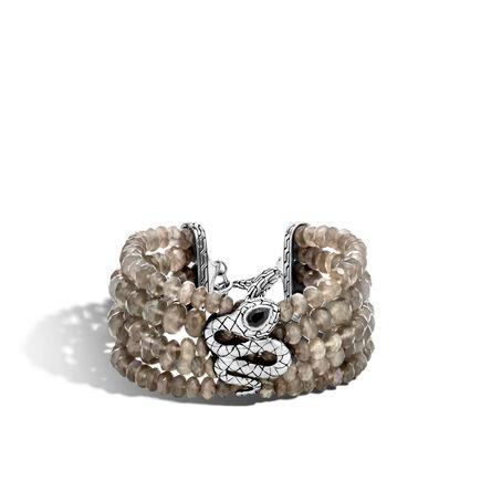 Legends Cobra Multi Row Bead Bracelet in Silver with Gems