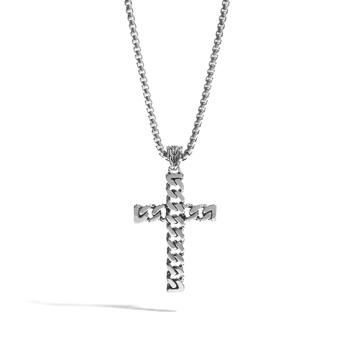 Classic Chain Cross Necklace in Silver