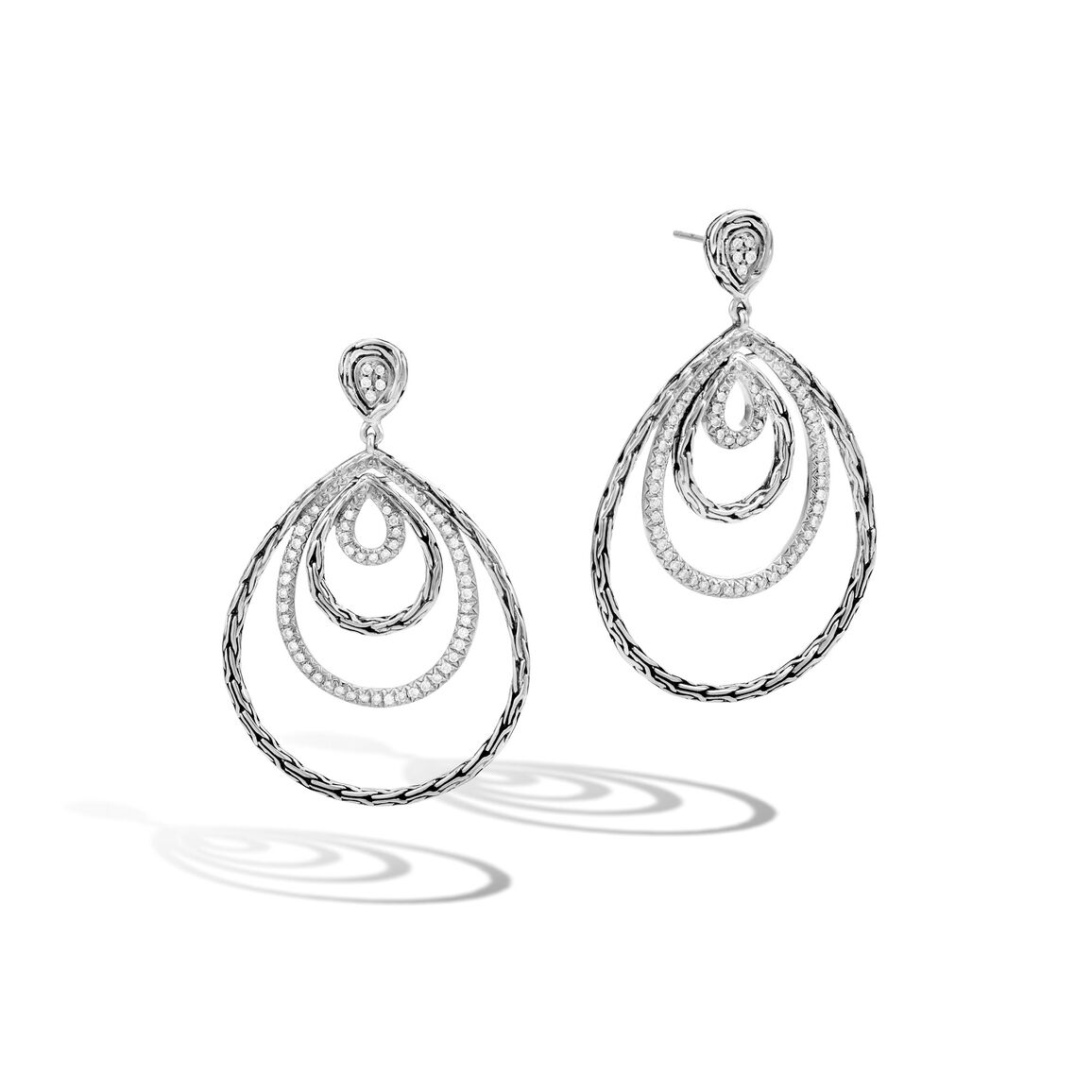 Classic Chain Drop Earring in Silver with Diamonds