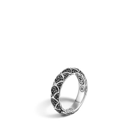 Legends Naga 5MM Band Ring in Silver with Gemstone
