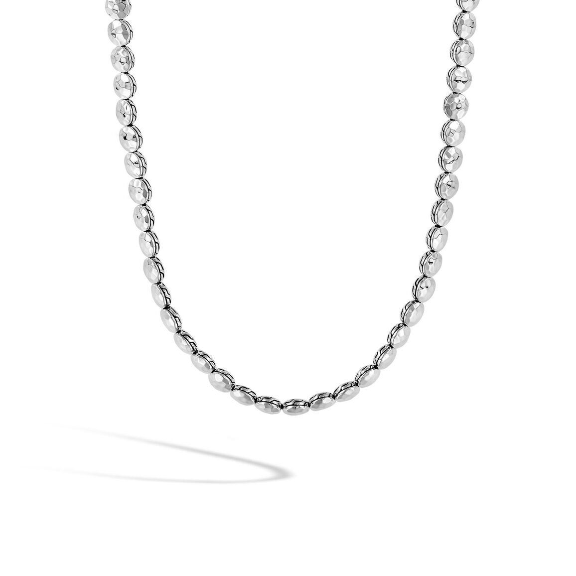 Dot 6MM Link Necklace in Hammered Silver