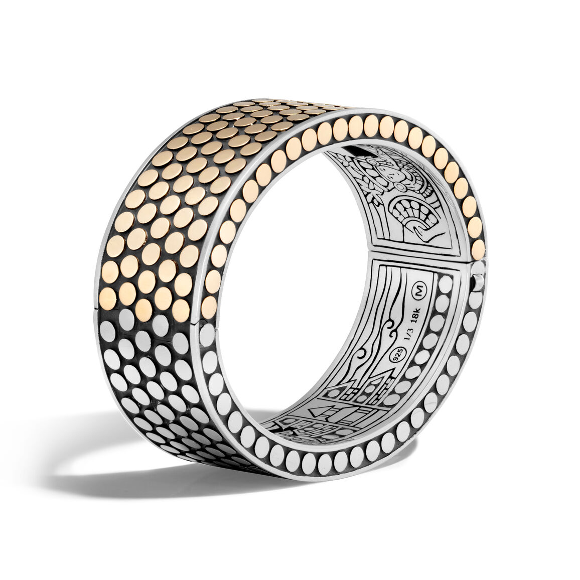 Dot 22MM Hinged Bangle in Silver and 18K Gold