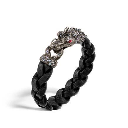 Legends Naga 15MM Bracelet in Silver and Leather, Gemstone