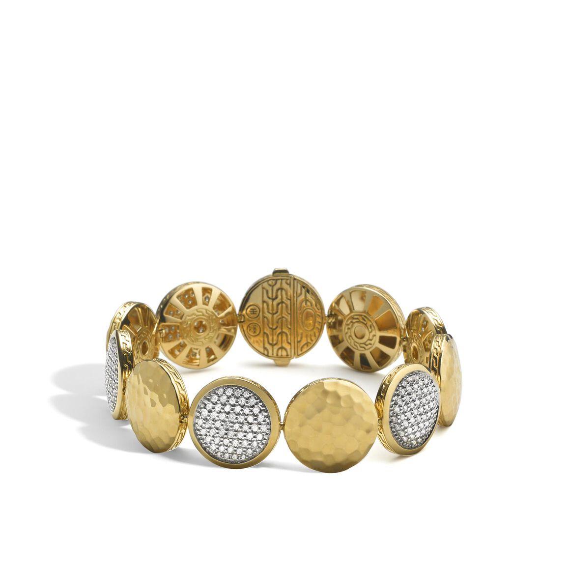 Dot 16MM Link Bracelet in 18K Gold with Diamonds