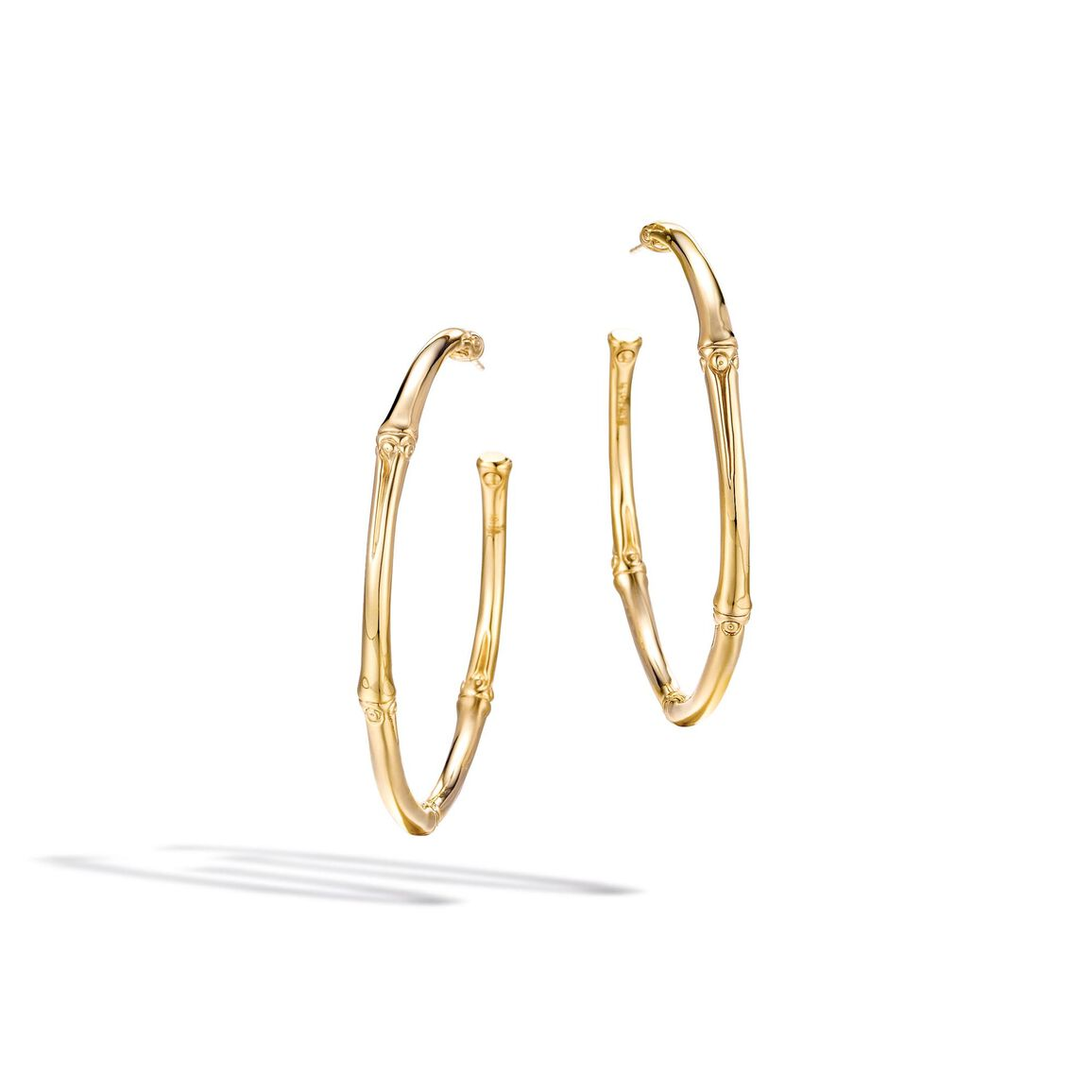 Bamboo Large Hoop Earring in 18K Gold