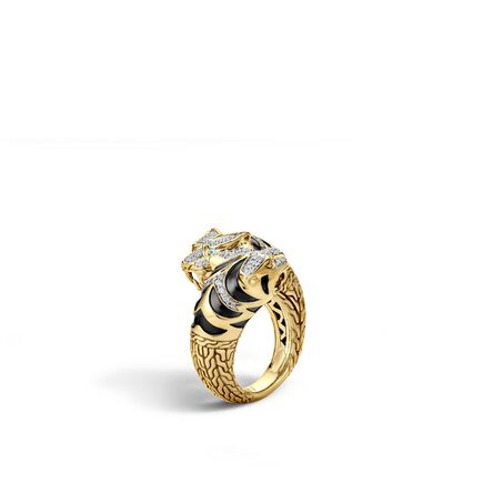 Legends Macan Double Head Bypass Ring in 18K Gold, Diamonds