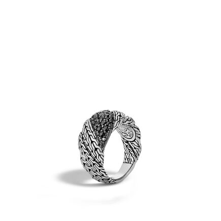 Twisted Chain 12.5MM Band Ring in Silver with Gemstone