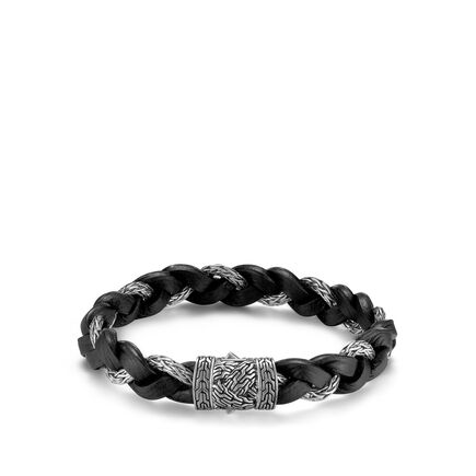 Braided Chain 11.5MM Bracelet in Silver and Leather