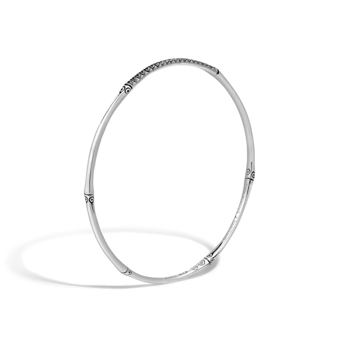Bamboo 2.5MM Bangle in Silver with Gemstone
