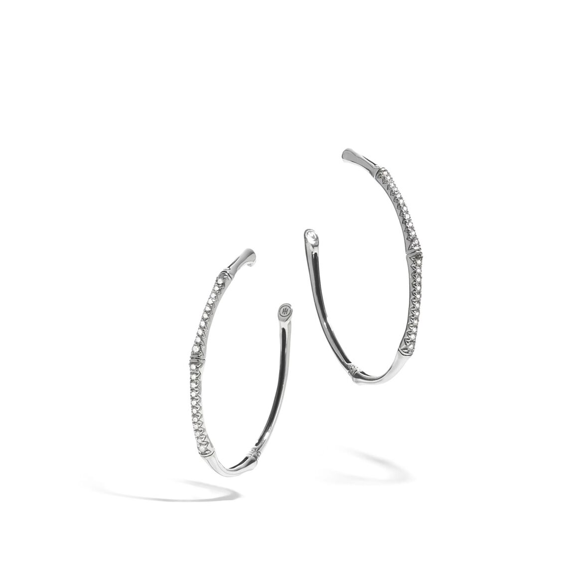 Bamboo Large Hoop Earring in Silver with Diamonds