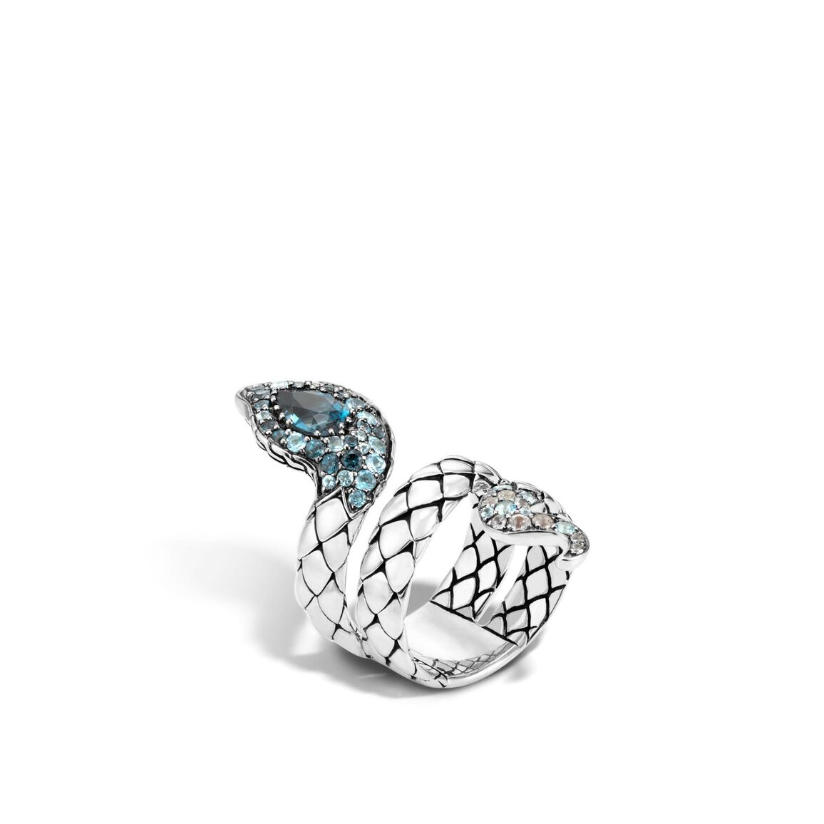 Legends Cobra  Coil Ring in Silver with Gemstone, Diamonds