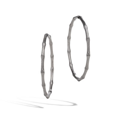 Bamboo Large Hoop Earring in Blackened Brushed Silver