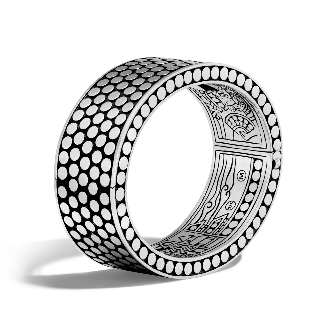 Dot 22.5MM Hinged Bangle in Silver