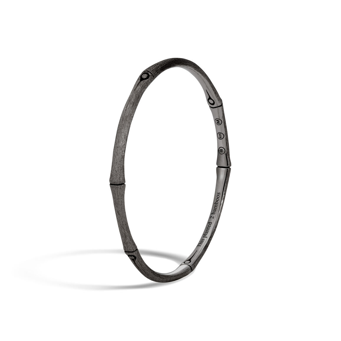 Bamboo 3.5MM Bangle in Blackened Brushed Silver