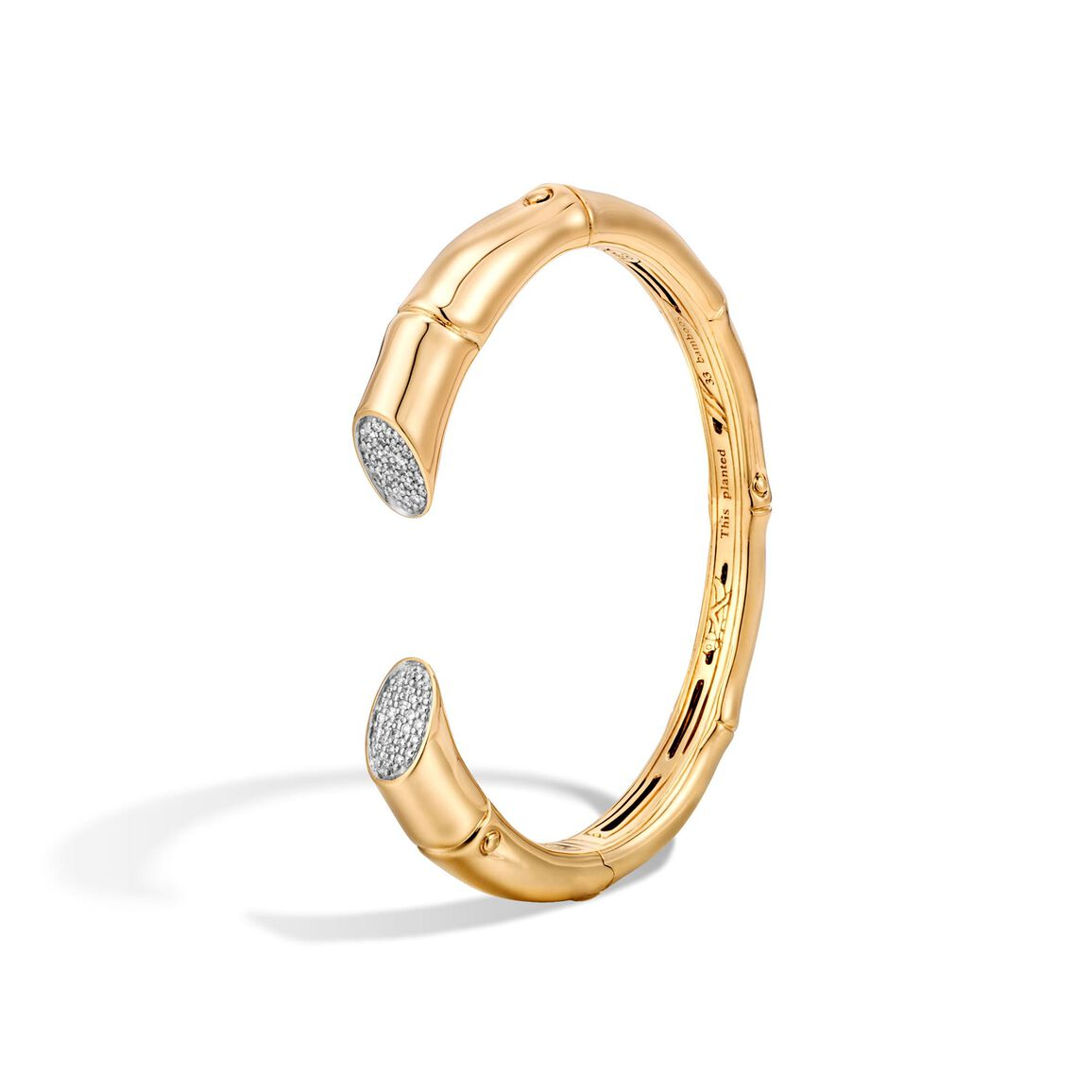 Bamboo 8.5MM Kick Cuff in 18K Gold with Diamonds