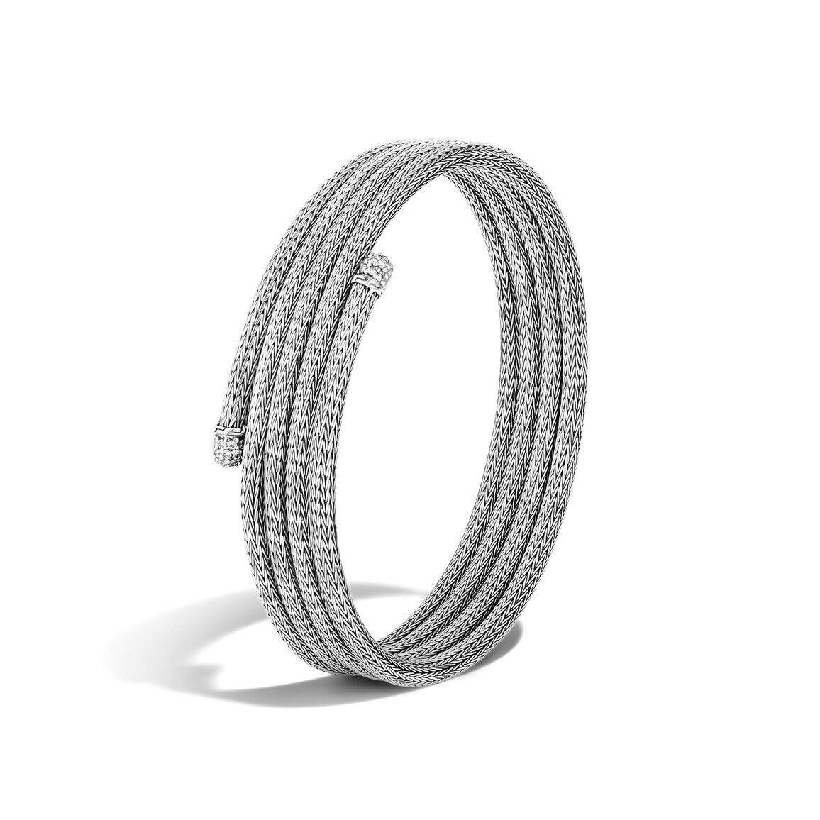 Classic Chain Four Coil Bracelet in Silver with Diamonds