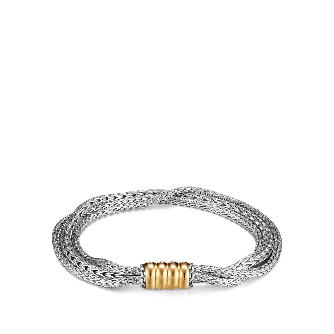 Classic Chain Triple Row Bracelet in Silver and 18K Gold