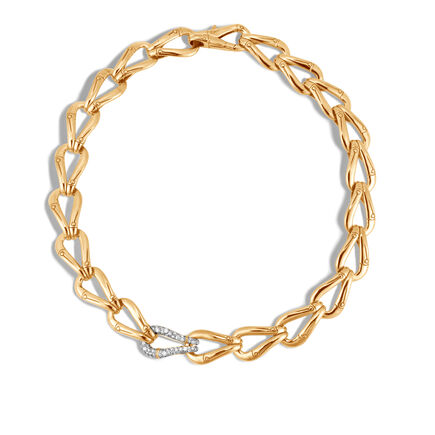 Bamboo 15MM Link Necklace in 18K Gold with Diamonds