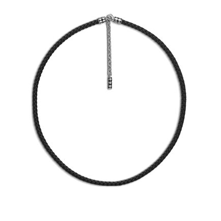 Dot 4MM Necklace in Silver and Leather