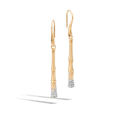 Bamboo Linear Drop Earring in 18K Gold with Diamonds