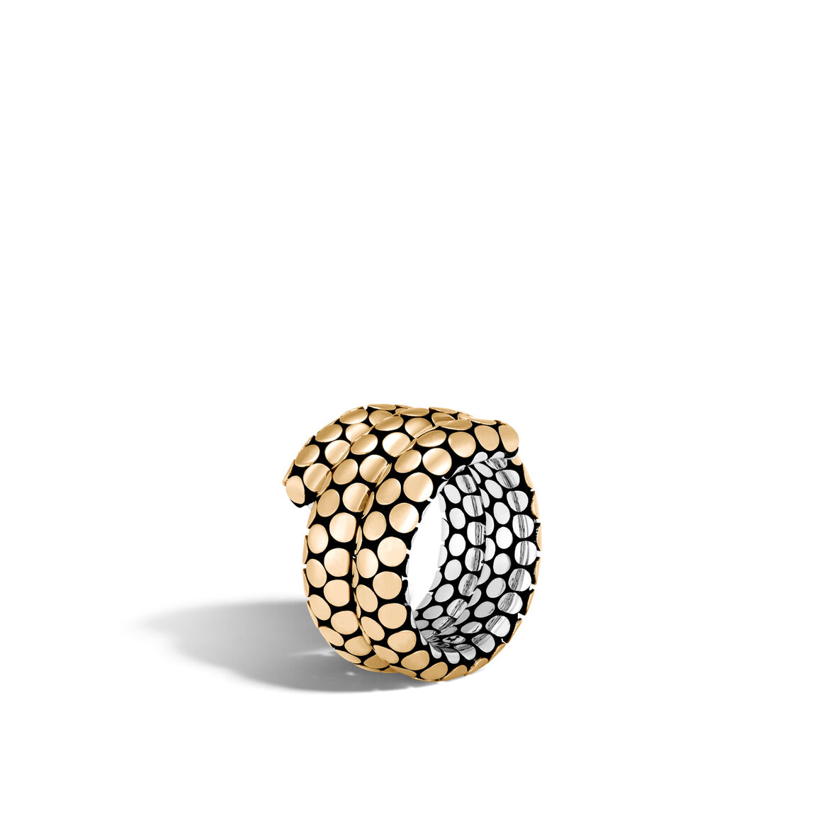 Dot Double Coil Ring in Silver and 18K Gold