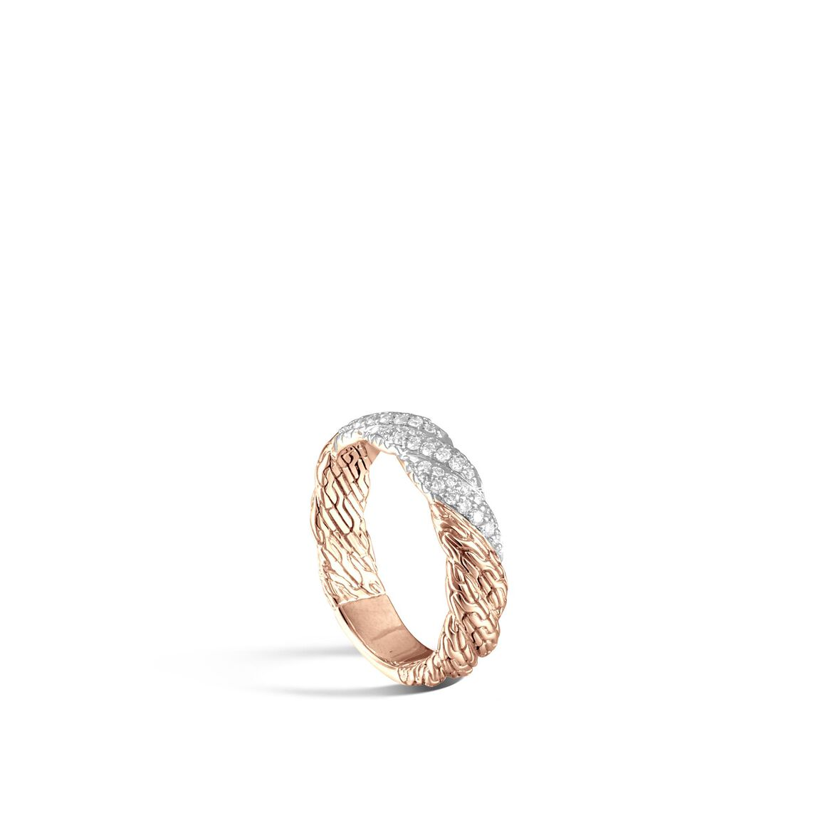 Twisted Chain 5MM Band Ring in 18K Gold with Diamonds