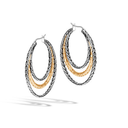 Classic Chain Medium Hoop Earring Silver, Hammered 18K Gold