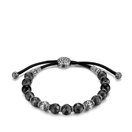 Classic Chain Bead Bracelet in Silver and Blackened Bronze