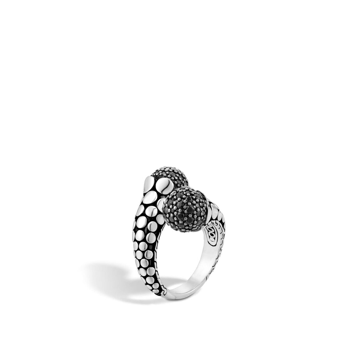 Dot Bypass Ring in Silver with Gemstone