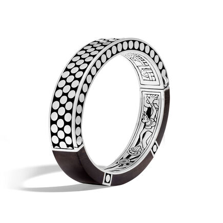 Dot 12.5MM Hinged Bangle in Silver with Wood