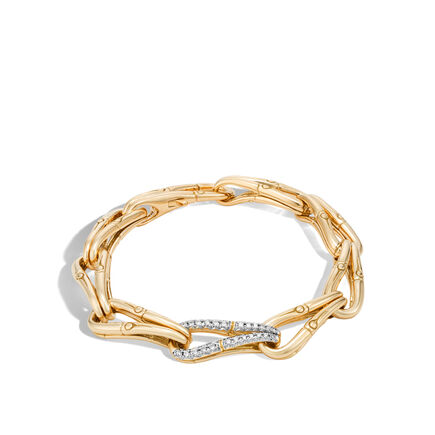 Bamboo 9MM Link Bracelet in 18K Gold with Diamonds