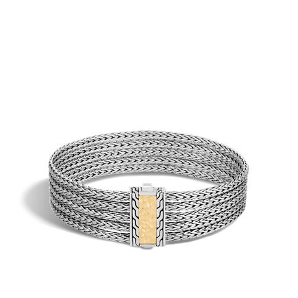 Classic Chain Five Row Bracelet in Silver and 18K Gold
