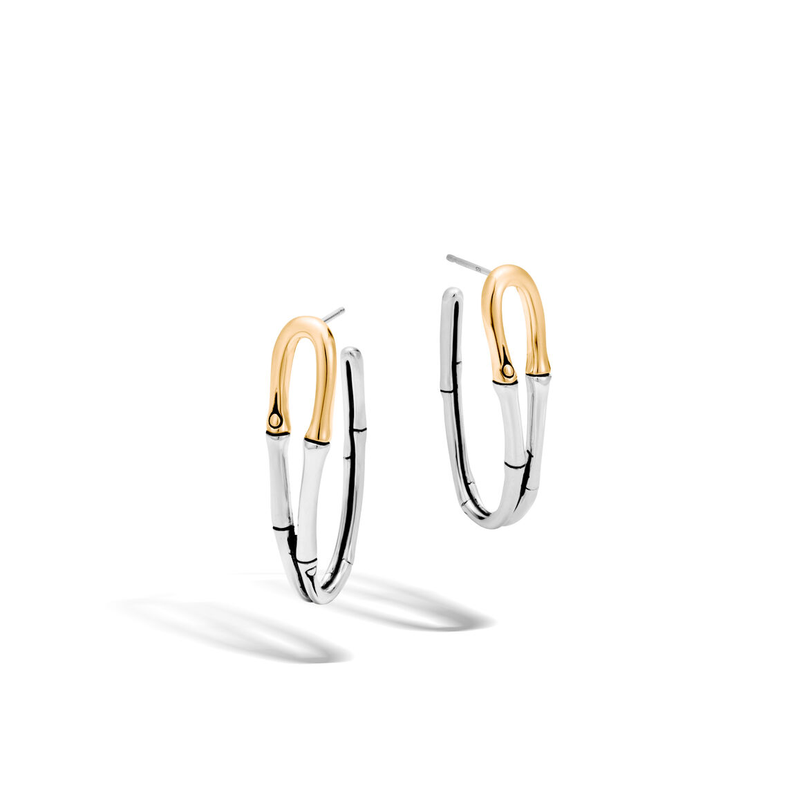 Bamboo Medium J Hoop Earring in Silver and 18K Gold