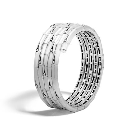 Bamboo Multiple coil Bracelet in Silver