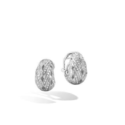 Classic Chain Buddha Belly Earring in Silver with Diamonds