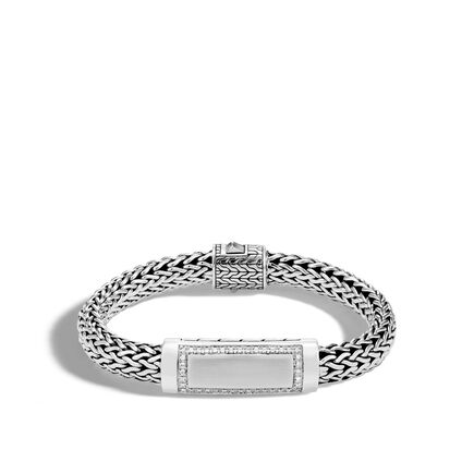 Classic Chain 11MM ID Bracelet in Silver with Diamonds
