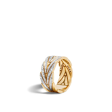 Modern Chain 9MM Band Ring in 18K Gold with Diamonds