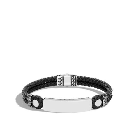 Classic Chain 8MM ID Bracelet in Silver and Leather